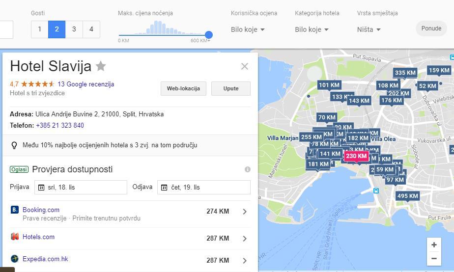 detaljni prikaz hotela na Google hotel ads