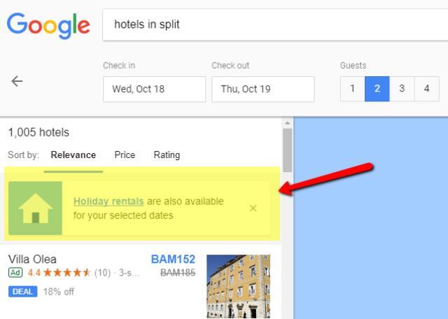 Google i iznajmljivanje smještaja