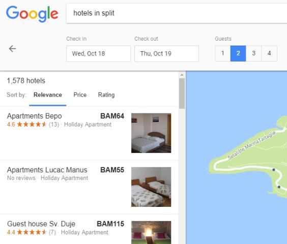 oglašavanje smještaja na Google-u
