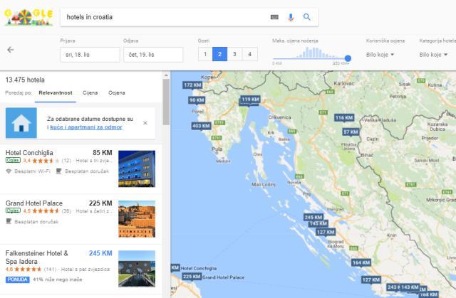 Google Hotel Ads prikaz cijena smještaja
