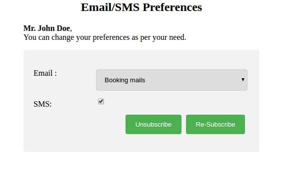 email sms preference