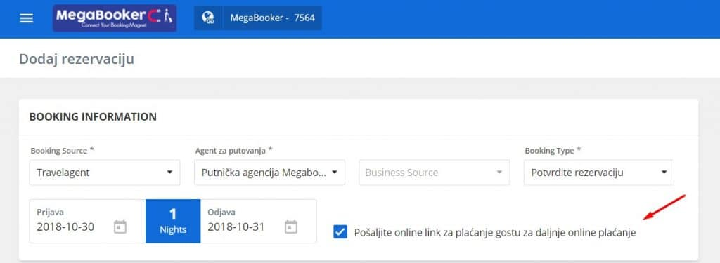 link za plaćanje megabooker