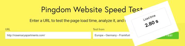 brzina učitavanja web stranice hotela