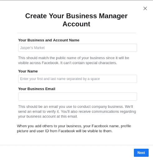Izradite račun Facebook oglasa