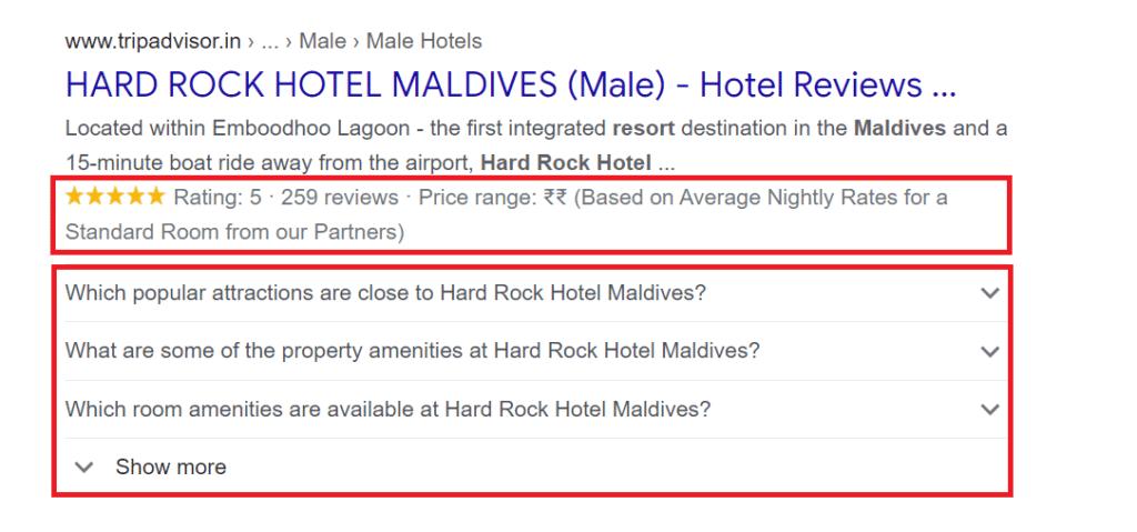 Pojedinosti dodane u oznake hotelske sheme poboljšavaju isječak vaše web lokacije i jačaju vaš hotelski SEO