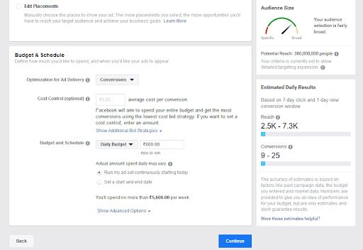 Stvaranje proračuna Facebook oglasa i njihovo zakazivanje.
