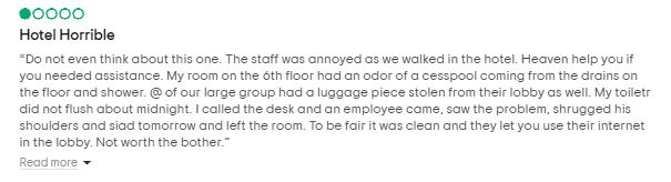 Primjer negativne recenzije hotela