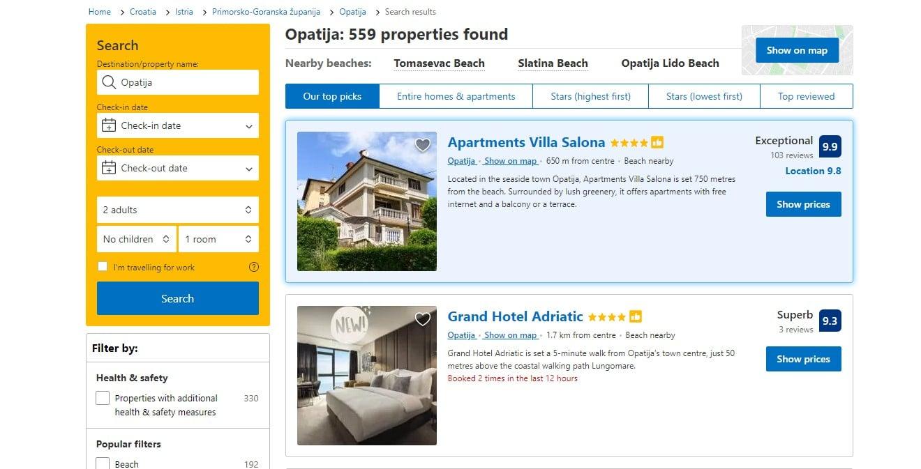 Program Booking.com preferiran partner pruža dobru vidljivost hotelima.